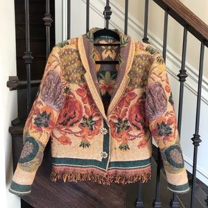 Vintage Tapestry Fall Pumpkin Thanksgiving Jacket